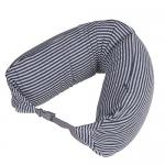 หมอนรองคอ #07 : สีกรม - เทา ลายทางใหญ่ cotton (blue gray stripe cotton)