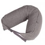หมอนรองคอ #12 : สีน้ำตาล - เทา ลายทางเล็ก (Brown Gray stripe Cotton)