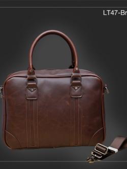LT47-Brown กระเป๋าถือผู้ชาย + สะพายข้าง หนัง PU สีน้ำตาล